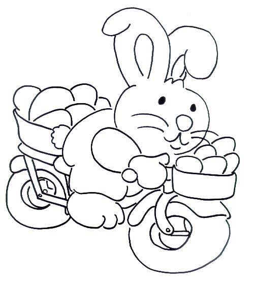 Easter rabbit on bike coloring page