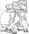 Adam and Eve with the apple coloring page