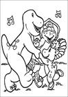 Barney dancing coloring page