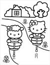 Hello Kitty jumping coloring page