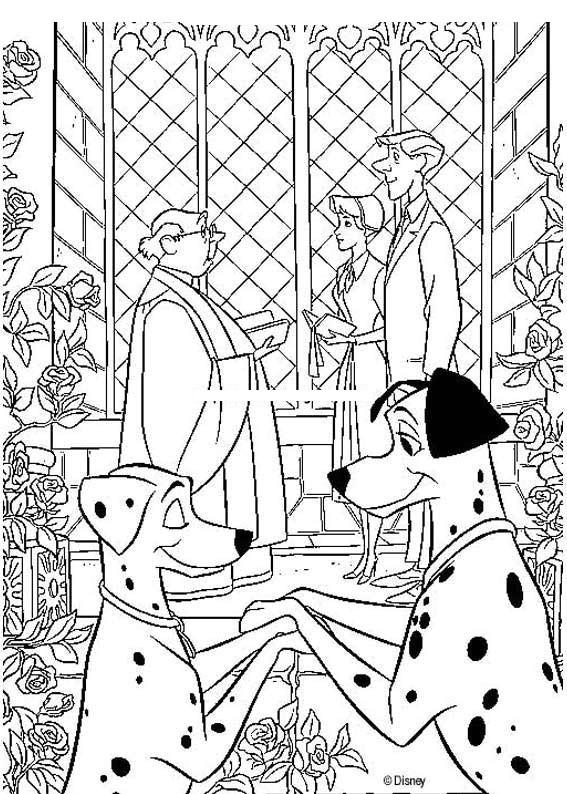 101 Dalmatians wedding coloring page