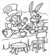 Alice in Wonderland tea party coloring page