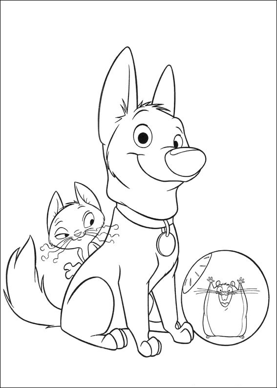 Bolt and friends coloring page
