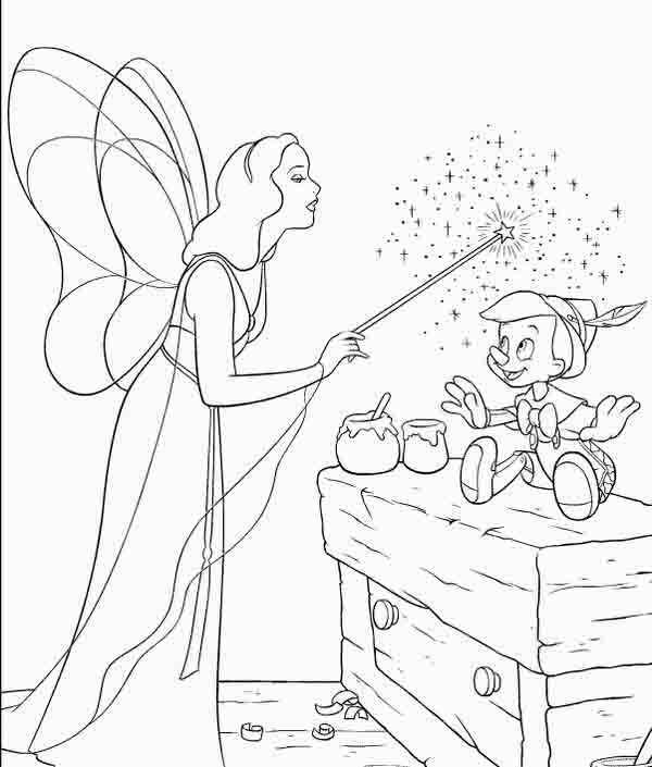 Pinocchio and fairy coloring page