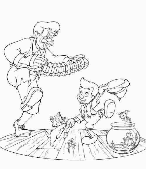 Pinocchio family dance coloring page
