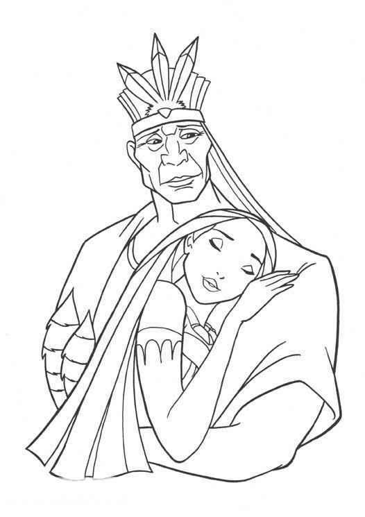 Pocahontas and father coloring page