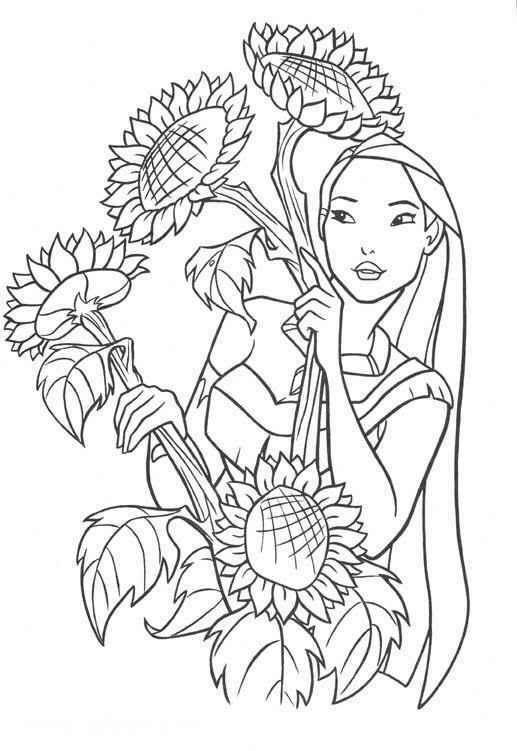 Pocahontas and flowers coloring page