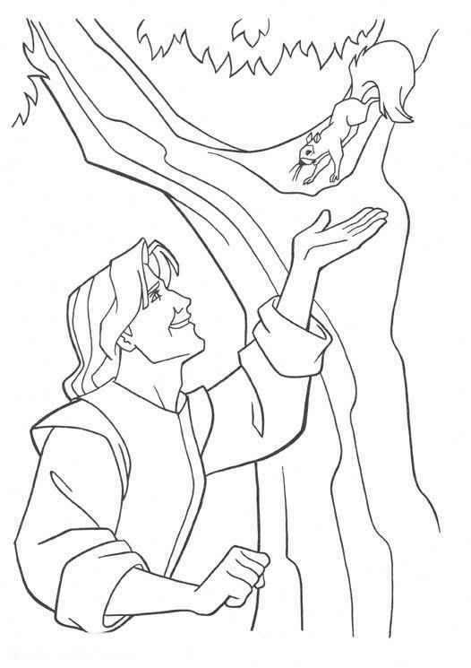 Pocahontas man and chipmunk coloring page