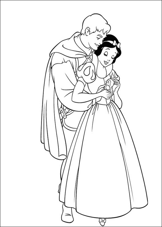 Snow White and prince coloring page