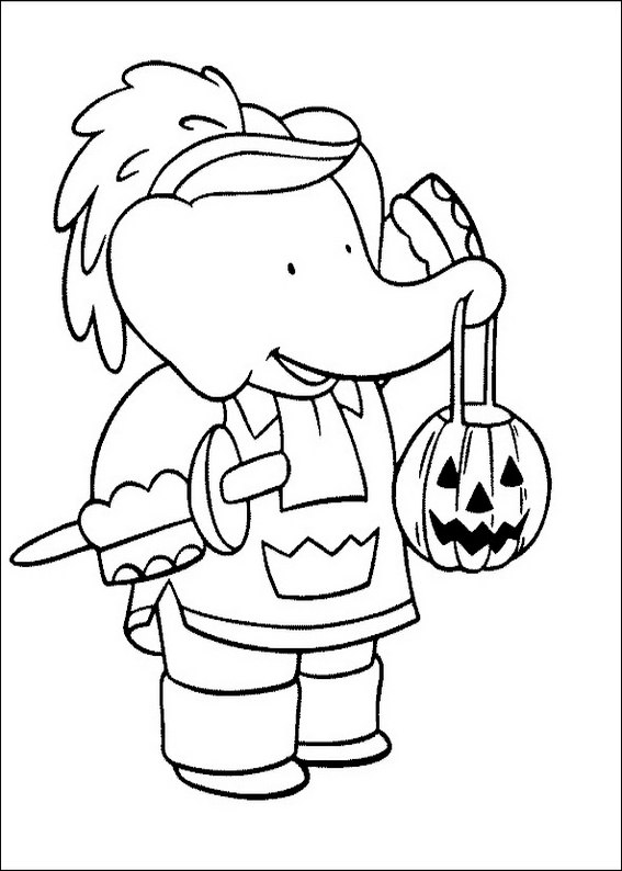 Halloween Babar coloring page