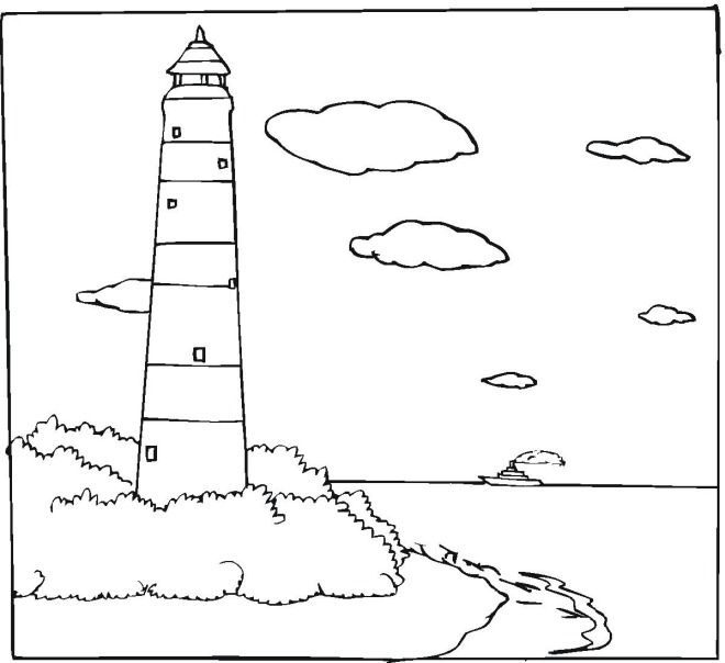 Sea lighthouse coloring page