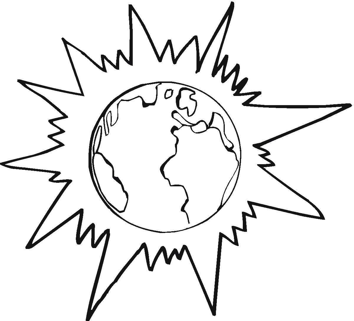 Earth behind The Sun coloring page