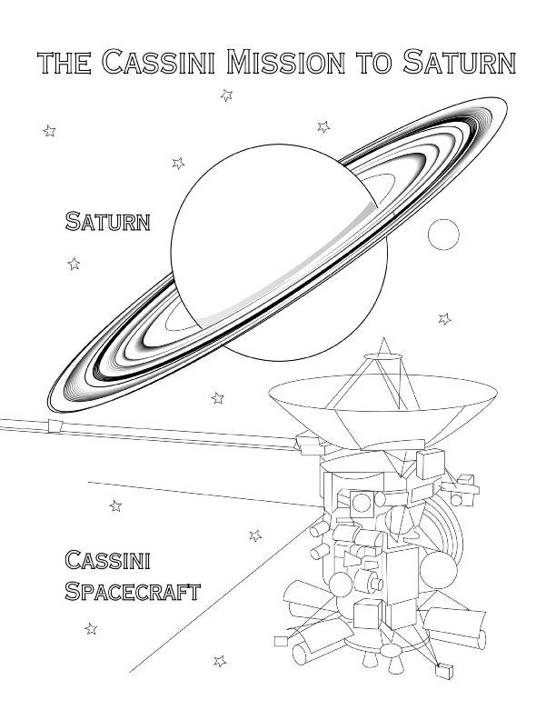 Saturn spacecraft coloring page