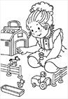 Girl playing coloring page