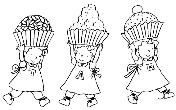 Girls triplets cake coloring page
