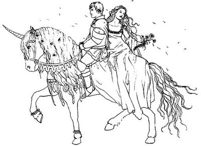 Prince and princess and horse coloring page