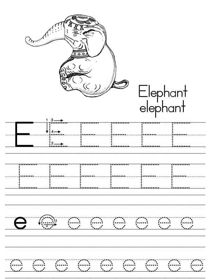 Alphabet ABC letter E Elephant coloring page