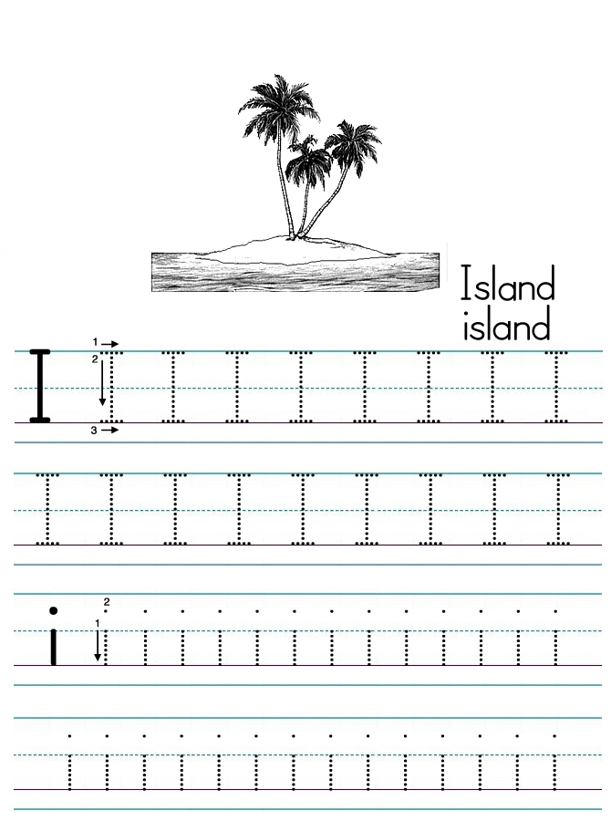 Alphabet ABC letter I Island coloring page
