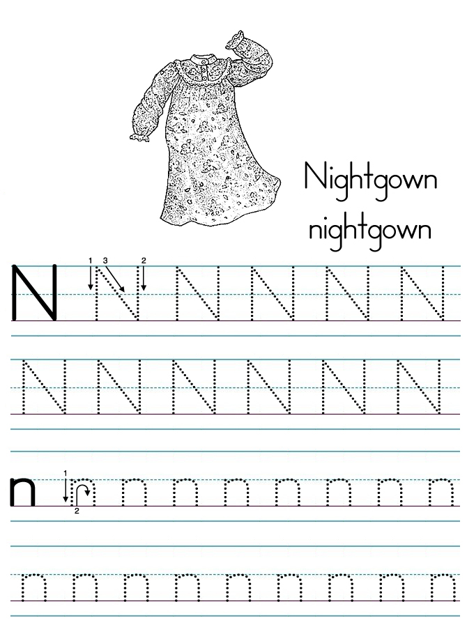 Alphabet ABC letter N Nightgown coloring page