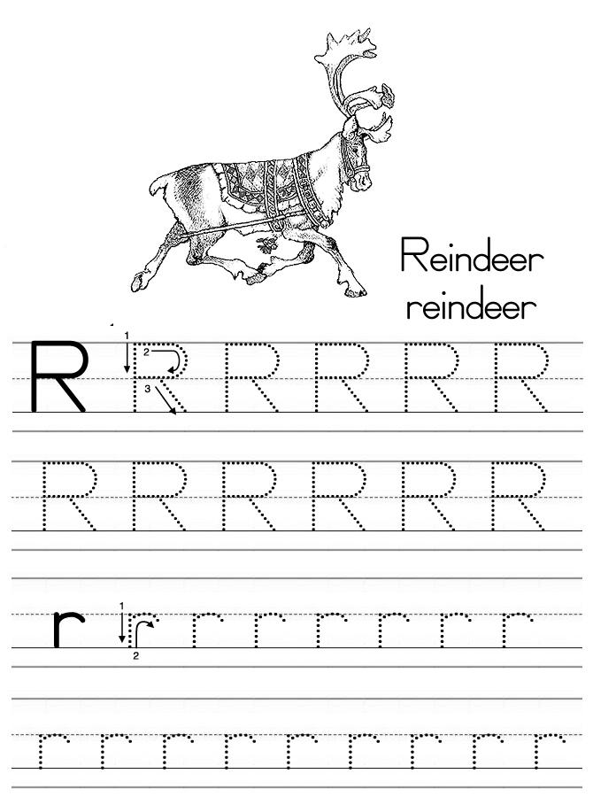 Alphabet ABC letter R Reindeer coloring page