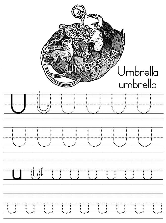 Alphabet ABC letter U Umbrella coloring page
