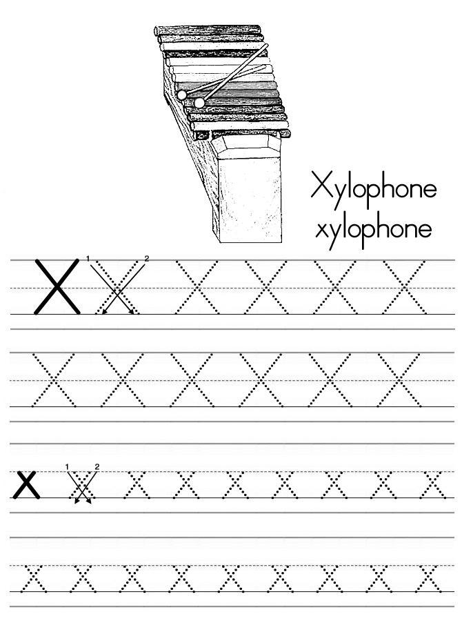 Alphabet ABC letter X Xylophone coloring page