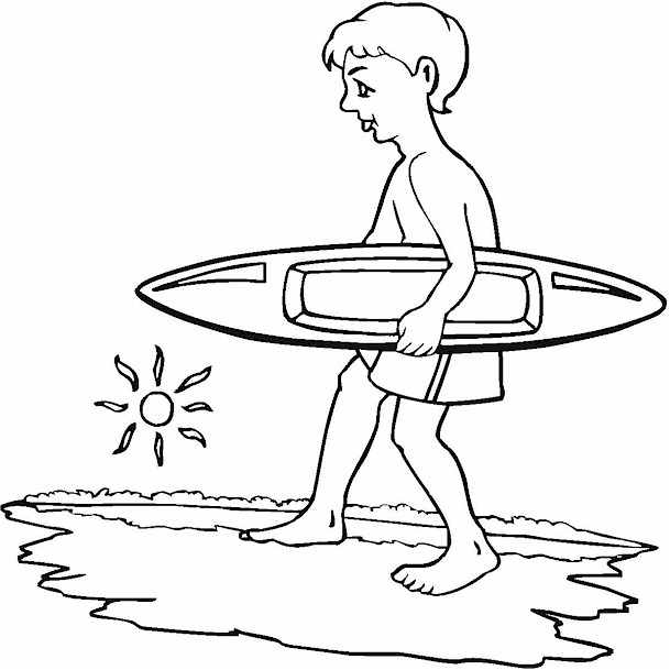 Surfing Boy Coloring Page
